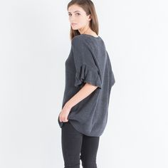 Modern Citizen  |  Frances Ruffled Sleeve Sweater (Charcoal) $98