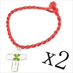 Charming Transparent Cross Shaped Lucky Clover Bracelet Pendant Chain with Red Strap