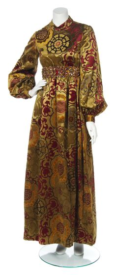 A George Halley Gold Print Silk and Velvet Gown