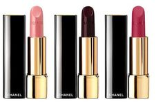 Chanel-Holiday-2015-Rouge-Noir: Rouge Allure Luminous Intense Lip Colour  – Limited Edition – $36.00 / €32.50      (237 Vamporeuse – light pink purple   /  109 Rouge Noir – black red);  Rouge Allure Velvet Luminous Matte Lip Colour – Limited Edition – $36.00 / €32.50      (437 La Merveilleuse – intense raspberry red)