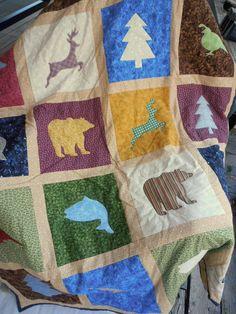 Wildlife Quilt Bear Quilt Deer Quilt Fish by QuiltedPleasures, $180.00