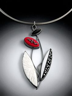Mosaic Pendant by Grace Stokes: Polymer Clay & Silver Necklace available at www.artfulhome.com