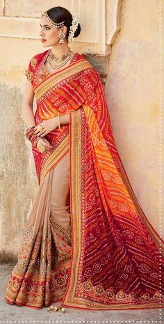 Orange and Cream Colour Pure Bandhani Designer Saree