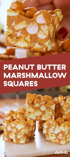 peanut butter squares Peanut Butter Marshmallow Squares from are the easiest treats to make. Peanut Butter Granola, Peanut Butter Chocolate Bars, Peanut Butter Desserts, Peanut Butter Cookies, Peanut Recipes, Marshmallow Cookies, Peanut Butter Marshmellow Squares, Marshmallow Delight Recipe, Seafood