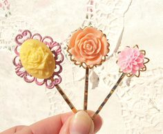 Spring Blossoms  Flower Bobby Pin Set by NestingPretty on Etsy, $16.00
