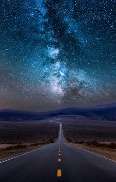 Panamint Milky Way - Road through Panamint Springs in Death Valley N. P., California