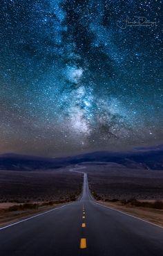 Panamint Milky Way - Road through Panamint Springs in Death Valley N. P., California