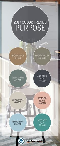 The Dutch Boy® Purpose Color Trend takes inspiration from aged metals and chic industrial style. Embrace the inherent beauty of manmade materials with soft shades like Doves Wings 443-1DB and Adequate Aqua 231- 5DB. Discover the light and balanced shades of this palette at your neighborhood Menards®.