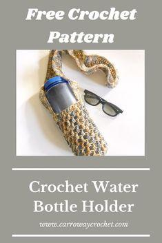 Crochet Water Bottle Holder: Free Pattern - Carroway Crochet All Free Crochet, Double Crochet, Bralette Pattern, Water Bottle Holders, Free Pattern, Crochet Patterns, Great Gifts, Crafty, Knitting