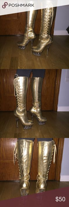 "Highest Heel Collection Stiletto Boots! Worn for 3 hours total for an event! Excellent condition with new ""no-slip"" grips on the bottom of each boot. They zip up from ankle to the top, the lace up is for design, not closure. So fun! The Heel is approximately 3 1/2 inches. Shoes Heeled Boots"