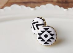Tribal stud earrings black and white aztec by NestBirdDesigns