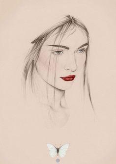 digital portrait drawing in pencil + photoshop: Emma Leonard Illustrator based… Art And Illustration, Portrait Illustration, Illustration Fashion, Art Illustrations, Fashion Illustrations, Emma Leonard, Pencil Drawings, Art Drawings, Drawing Faces