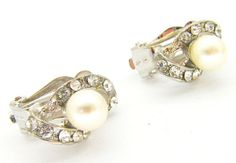 New Silver Tone White Pearl Crystal Twist Stud Clip On Earrings Bridal Prom