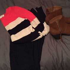 BLACK FRIDAY SALE  Color-Blocked sweater This colorful sweater is a fall essential!! It has a pop of red/coral color on top and alternating navy and creme stripes. Only worn a few times! Make an offer!!  Pink Rose Sweaters Crew & Scoop Necks