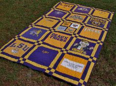 Tshirt Quilt Blanket Throw made from by BreauxBunchQuilts on Etsy, $250.00