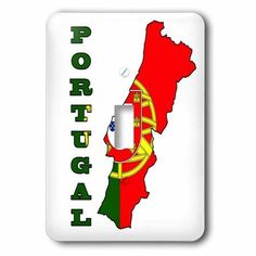 3dRose The flag of Portugal in the outline map and name of the country, Portugal, 2 Plug Outlet Cover