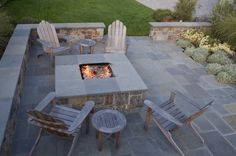 Must have stone patio/matching fireplace.
