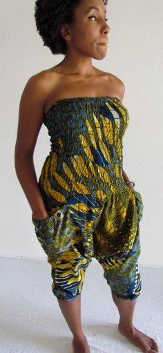 African Print Knee Length Jumpsuit. $30.00, via Etsy.