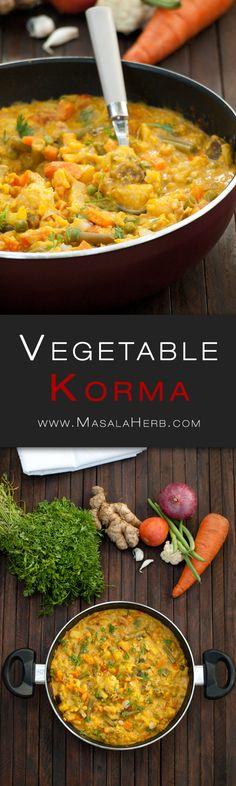 Vegetable Korma Recipe – Simple creamy mix veg kurma curry {without coconut} www.MasalaHerb.com #recipe #indianfood #curry