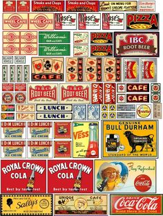 Old signs for your layout Vintage Labels, Vintage Signs, Cafe Delivery, Pin Up, Road Trip With Kids, Model Train Layouts, Old Signs, Advertising Signs, Paper Models