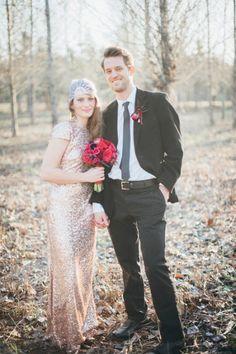 Gold sequined wedding dress | Romantic Red + Black Wedding Inspiration