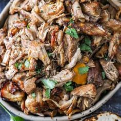 Pork Carnitas (Mexican Pulled Pork - Slow Cooker) - Spend With Pennies Mexican Pulled Pork, Pulled Pork Recipes, Meat Recipes, Slow Cooker Recipes, Mexican Food Recipes, Healthy Recipes, Mexican Dishes, Crockpot Meals, Sauce Recipes