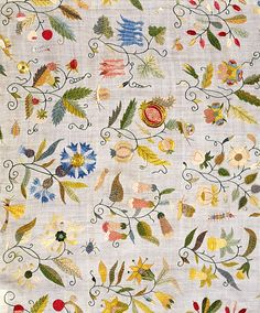Embroidered cover with floral motifs. England, early 17th century