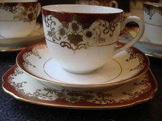 Superb Hand Painted Teaset Meito Cream/Burgundy/Gold Tea Set, Fine Porcelain #TeasetsTeasets