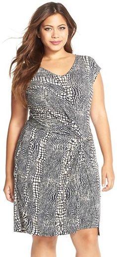 Plus Size Twist Front Faux Wrap Dress