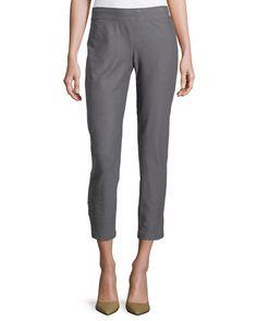 Washable Stretch-Crepe Ankle Pants, Ash