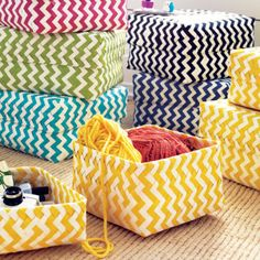 Love these colorful zig zag storage baskets. They're ideal for organizing hair accessories and small collections of things in kids rooms (or anywhere in your home). Not to mention, they would also make an adorable gift box - all you have to do is add a bow!