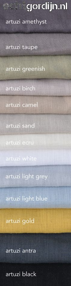 14 kleuren 100% linnen! Als je op zoek bent naar een mooie vergrijsde linnen kleur, je vindt hier vast bij!