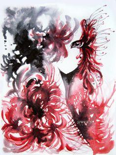 Nghệ Thuật Anime, Phát Họa, Hoa, Nghệ Thuật, Gương, Hình Nền