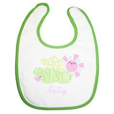 you are my sunshine baby girls feeding bib personalised embroidery $8.00 by BabysPreciousGifts