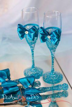 Turquoise wedding set wedding cake server and knife