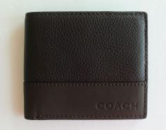 COACH Camden Leather Coin Men's Wallet Brown Mahogany F74637 MSRP $158