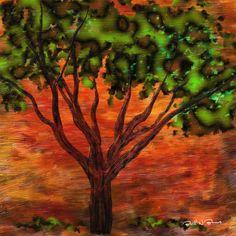 Tree and Leaf  Impasto  Digital Painting  Elizabeth Barros