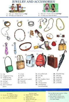 56 - JEWELRY AND ACCESSORIES - Picture Dictionary - English Study, explanations, free exercises, speaking, listening, grammar lessons, reading, writing, vocabulary, dictionary and teaching materials