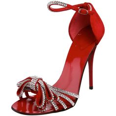 Breathtaking shoe from Giuseppe Zanotti,  Suede heel cup, ankle strap, and vamp straps, leather-covered stiletto and sensually curved footbed with a fantastic sparkle-encrusted bow over the toe.  $976.50 #sandal #Italian #red
