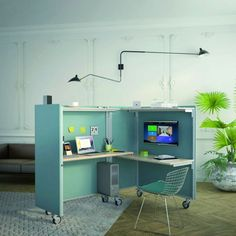 Bureau modulaire et connecté Mobile Office, Mobile Desk, Fold Out Table, Urban Apartment, Archi Design, Office Desktop, Coworking Space, Office Storage, Home Office