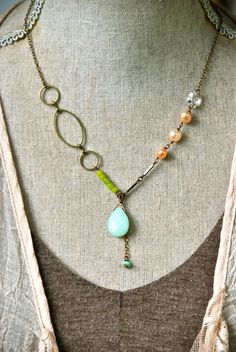 Meg. boho colorful gemstone pearl necklace. tiedupmemories