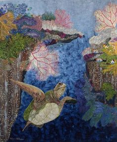 Fiber Art Quilts-Seascape by Eileen Williams.