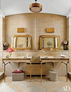 In fashion designer Stefano Pilati's Paris duplex, the master bath features sink fittings by Lefroy Brooks | archdigest.com