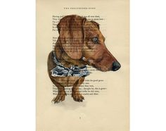Baxter from Kalyxcraftopia - Custom Portrait of your Pet  on antique book by ArtEnchantedWoods, $35.00