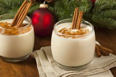 Here are three recipes for holiday eggnog cocktails: traditional spiked eggnog, an eggnog martini and a bourbon-spiked egg nog shake. Here are three recipes for holiday eggnog cocktails: traditional spiked eggnog, Eggnog Martini, Eggnog Cocktail, Spiked Eggnog, Winter Cocktails, Holiday Drinks, Christmas Desserts, Christmas Eve, Christmas Foods, Holiday Foods