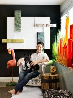 how about that colored glass collection there?! HGTV Magazine - David Bromstad House Tour