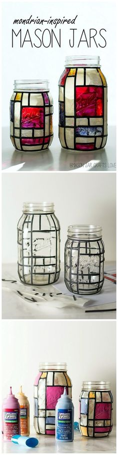 Make your own Mondrian inspired Mason Jars with Gallery Glass