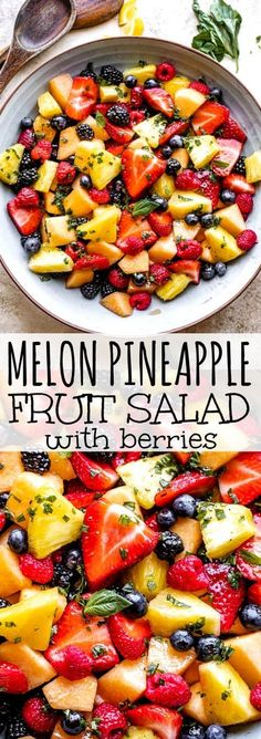 This easy fresh fruit salad features melon, pineapple and all your favorite berries. It's perfect any time of day and has an unexpected pop of fresh flavor! #fruitsalad #melon #pineapple #berries Fresh Fruit Salad, Fruit Salad Recipes, Fruit Salads, Easy No Bake Desserts, Fun Desserts, Kitchen Recipes, Cooking Recipes, Catering Recipes, Vegan Kitchen