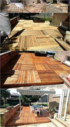 60 DIY Ideas For Wood Pallet Garden Terrace. Wood Pallet Terrace Ideas 25. Construire  Une Terrasse En Bois ...