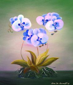 Blue Orchid Flowers Painting  - Blue Orchid Flowers Fine Art Print